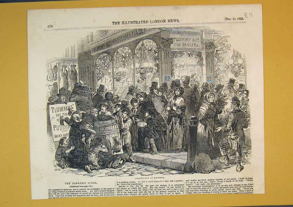 Print 1852 Busy Street Scene Grocer'S Shop Christmas 811B390 Old Original
