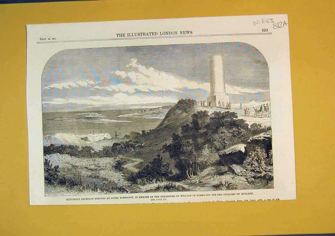 Print 1861 Monument Dives Normandy William Conquest England 812Ab390 Old Original