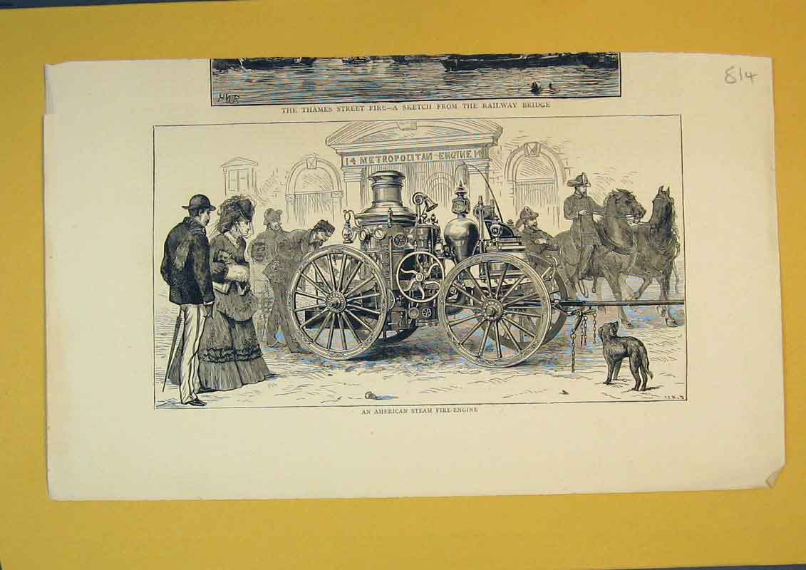 Print View Amercian Steam Fire-Engine Horse Fire-Brigade 814B390 Old Original