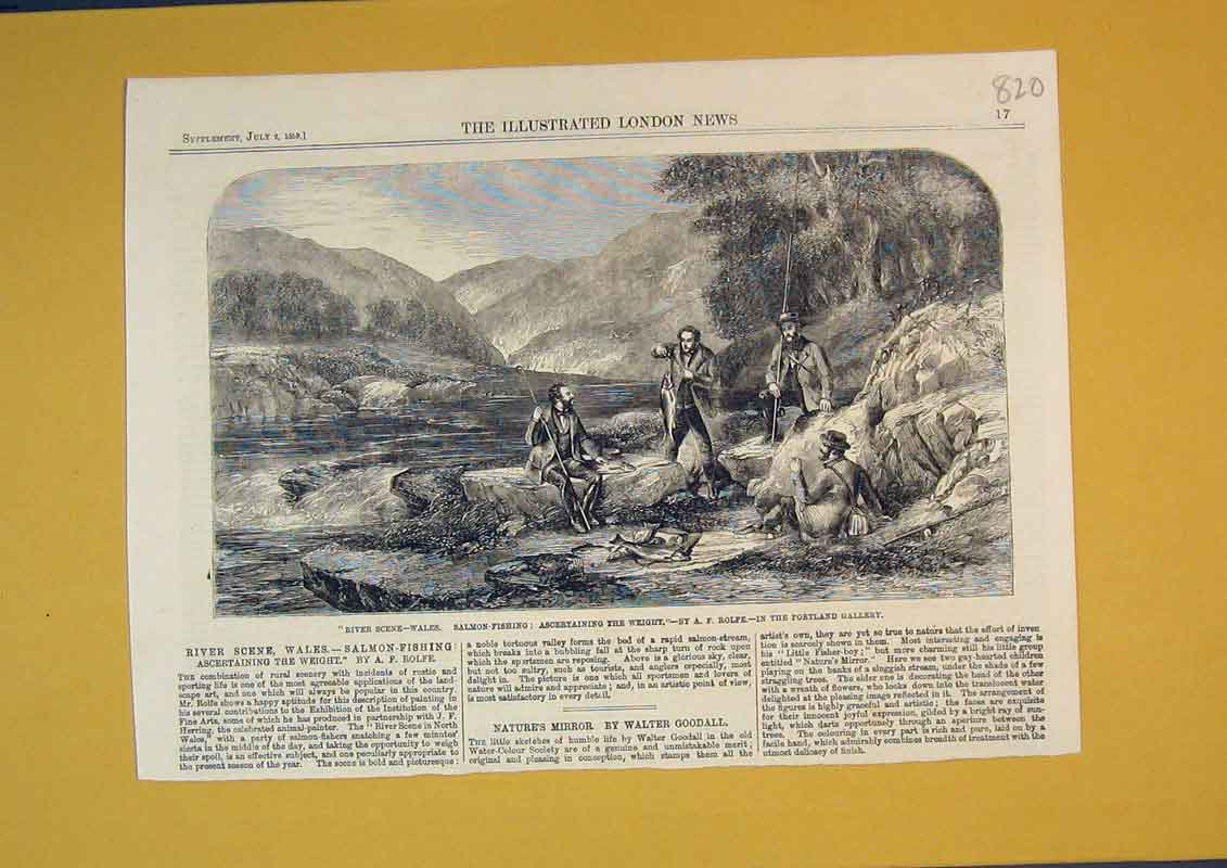 Print 1859 River Scene Wales Salmon Fishing Men Fish Mountain 820B390 Old Original
