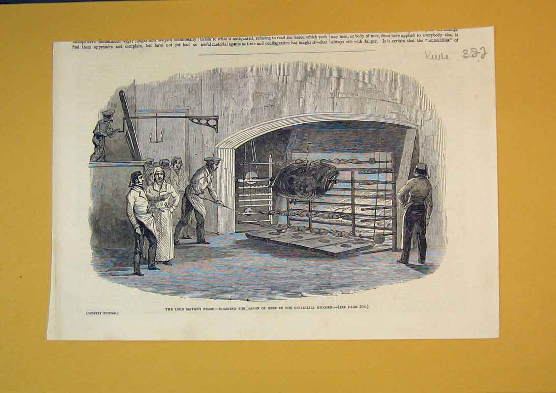 Print Roasting Baron Beef Guildhall Kitchen Lord Mayor Feast 822B390 Old Original