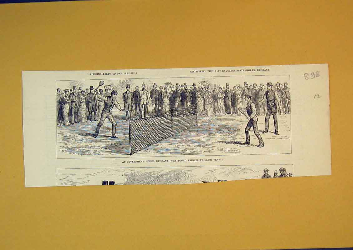 Print Government House Brisbane Young Princes Lawn Tennis 838B390 Old Original