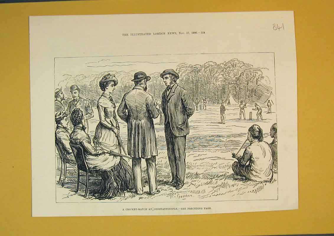Print 1880 Scene Cricket Match Constatinople Sport Men 841B390 Old Original