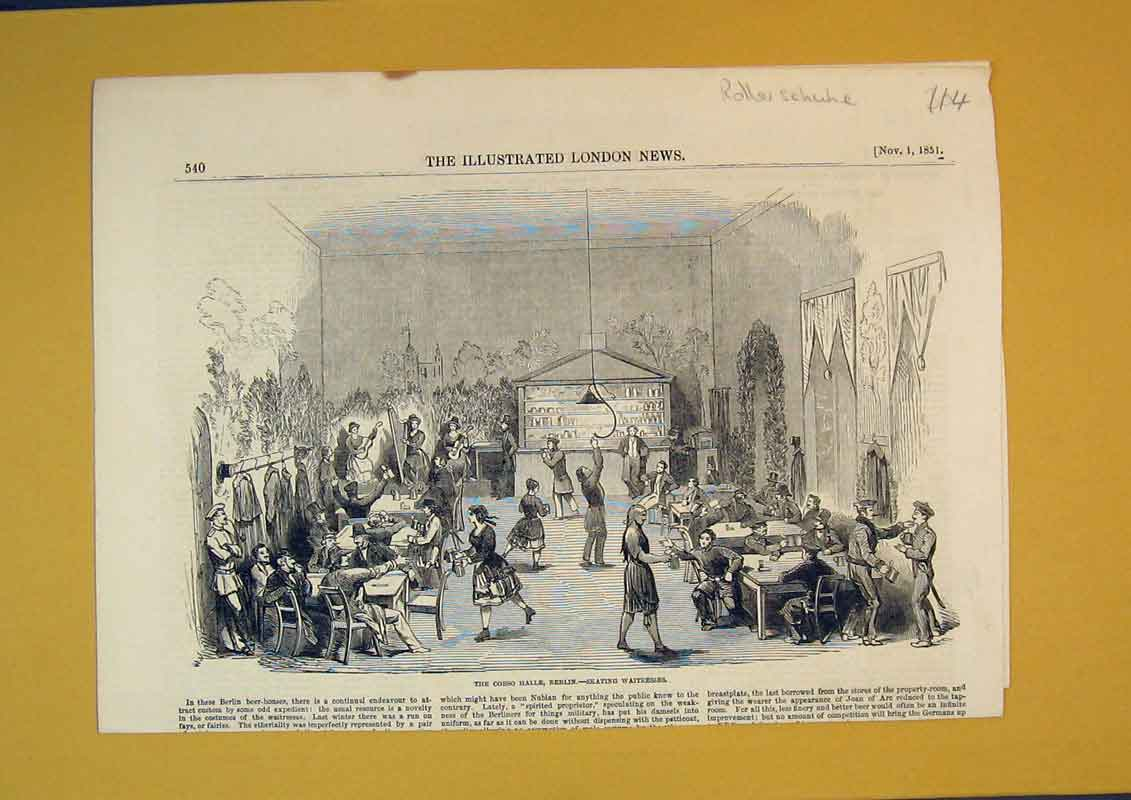 [Print 1851 Corso Halle Berlin Skating Waitresses Dinner Table 114B391 Old Original]