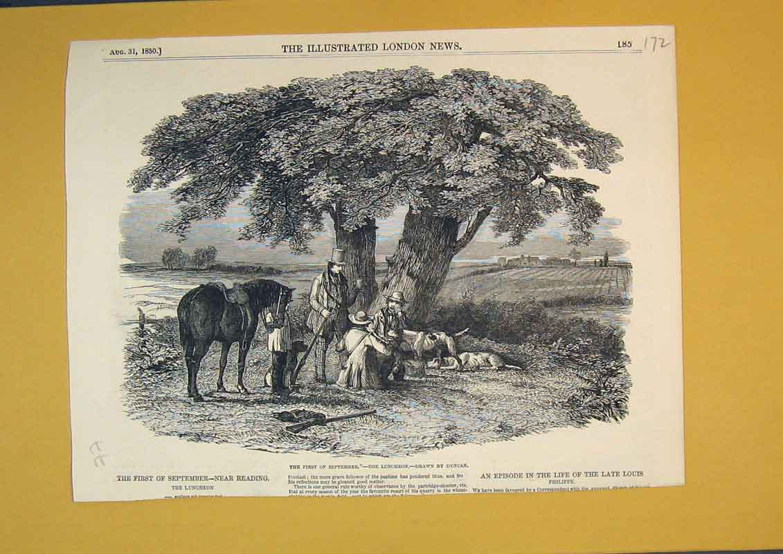 [Print 1850 Hunting Sport Hounds Horses Men Dogs Trees Country 172B391 Old Original]