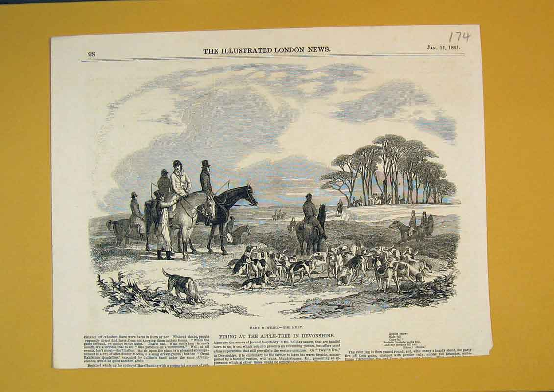 [Print 1851 Sport Hunting Hare Horses Hounds Dogs Trees 174B391 Old Original]