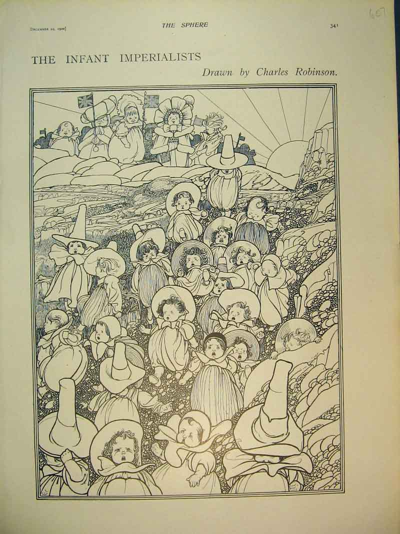 Print 1900 Charles Robinson Drawings Infant Imperialists Baby 607B393 Old Original