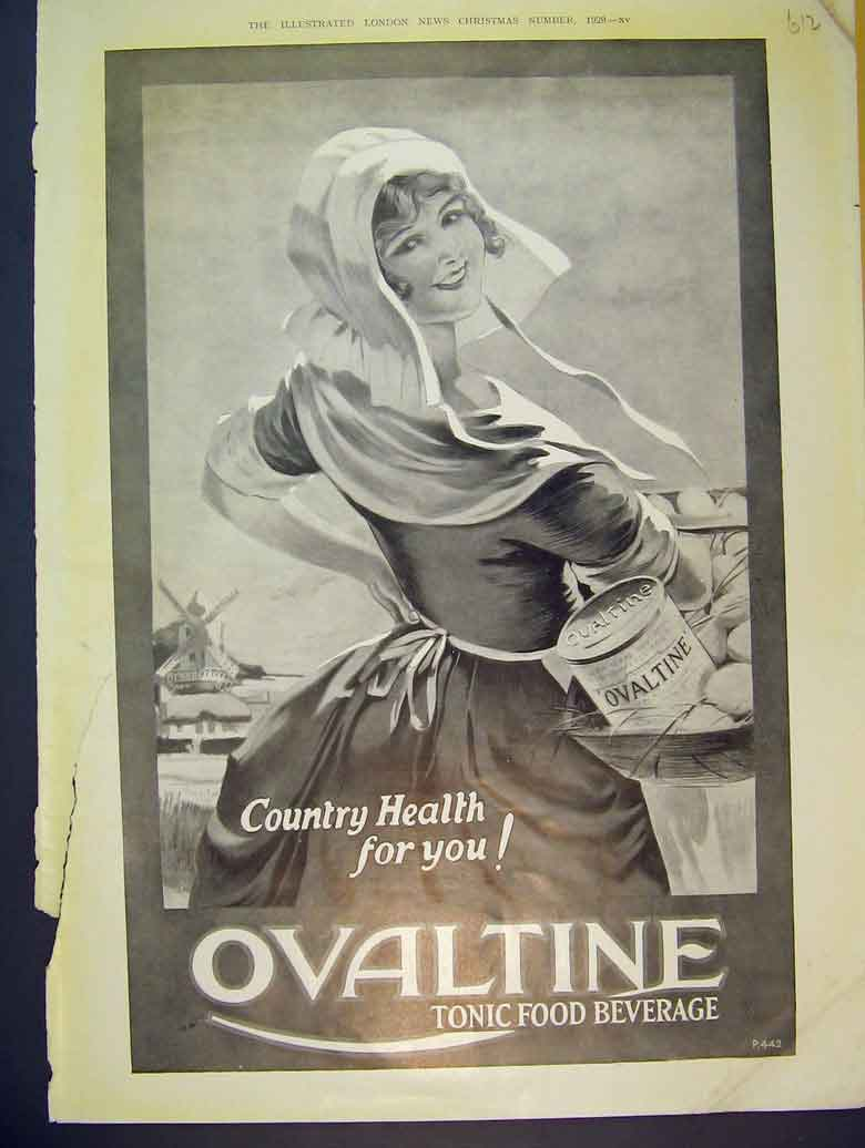 Print Advert Ovaltine Tonic Food Beverage 1929 Country Health 612B393 Old Original