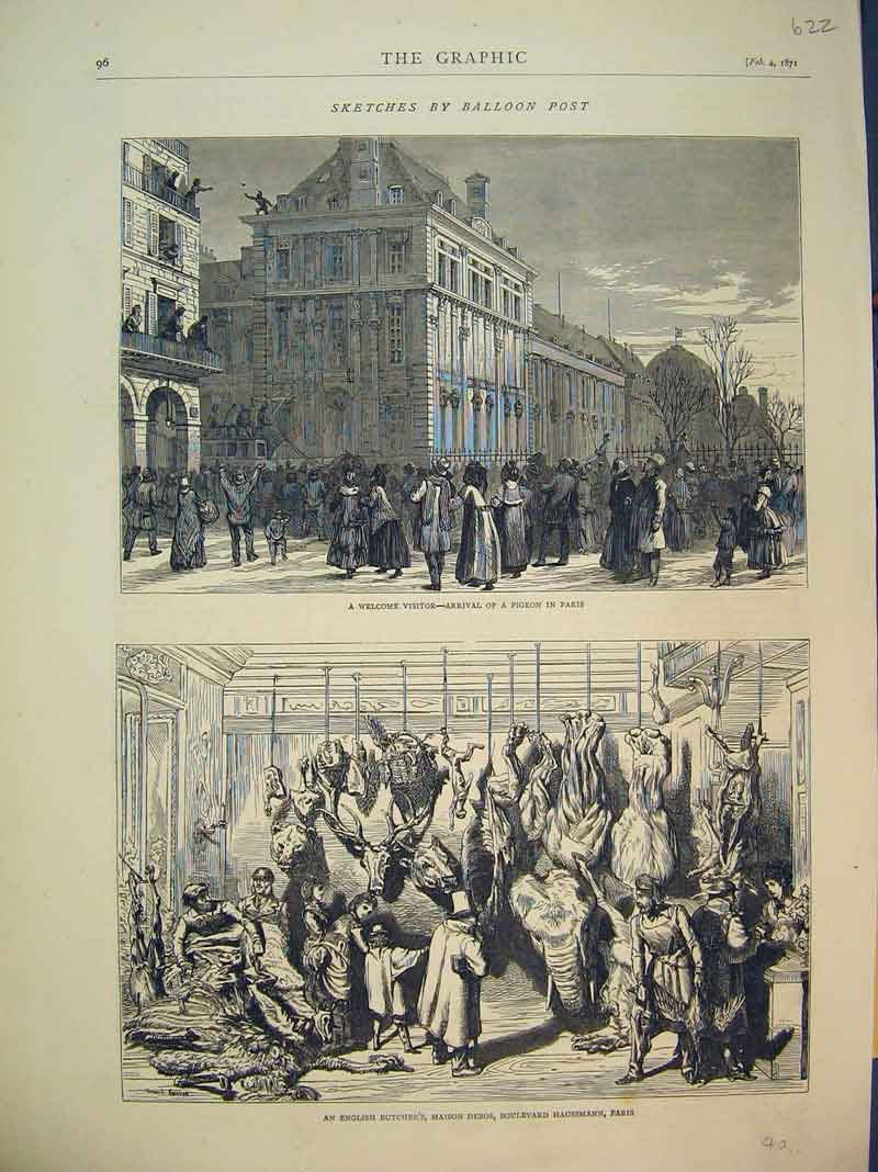 Print 1871 Street Pigeon Paris English Butchers Maison Debos 622B393 Old Original