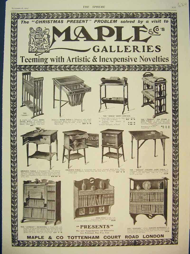 Print Advert Maple Galleries Smoker'S Table Furniture 1904 624B393 Old Original
