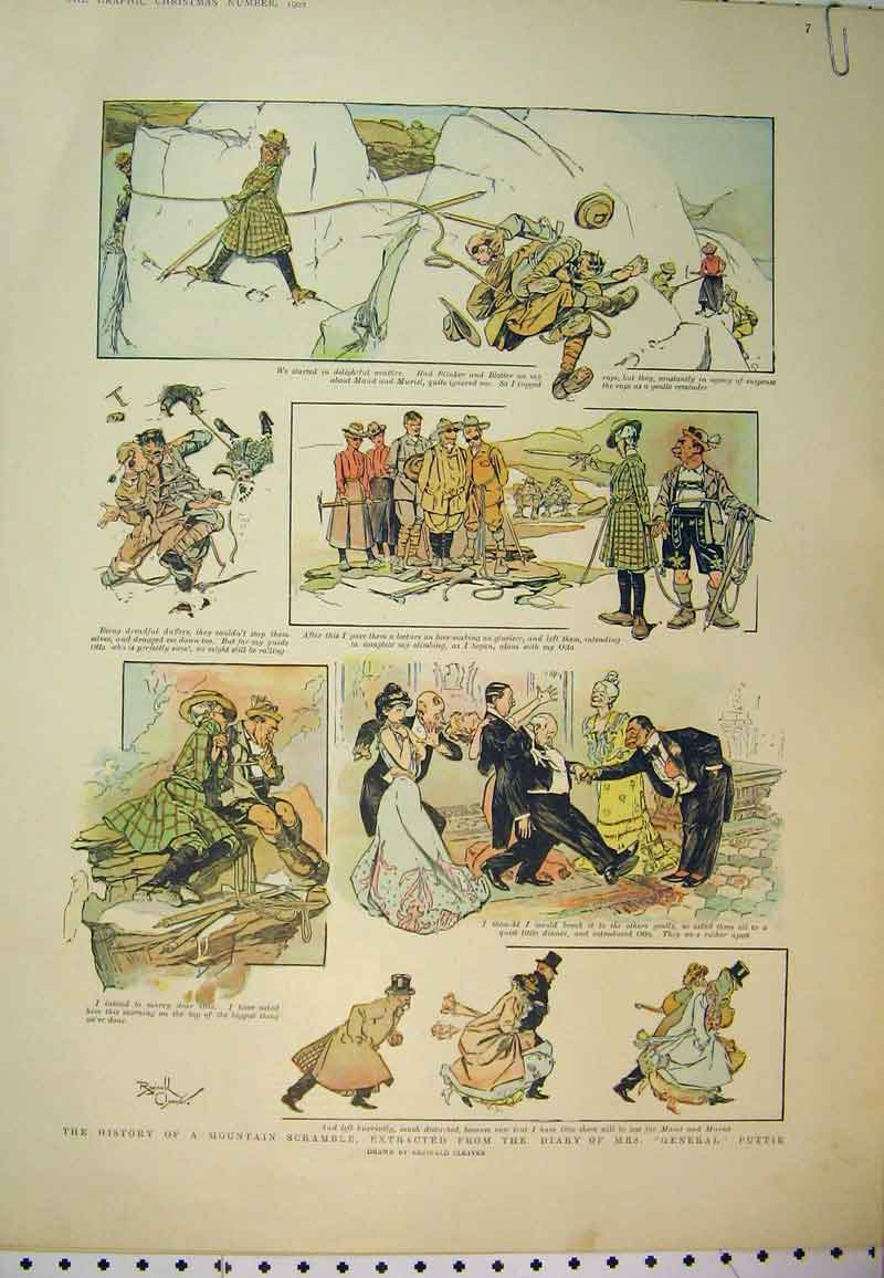 Print Mountain Scramble General Puttie 1902 Dance Romance 512Ab394 Old Original