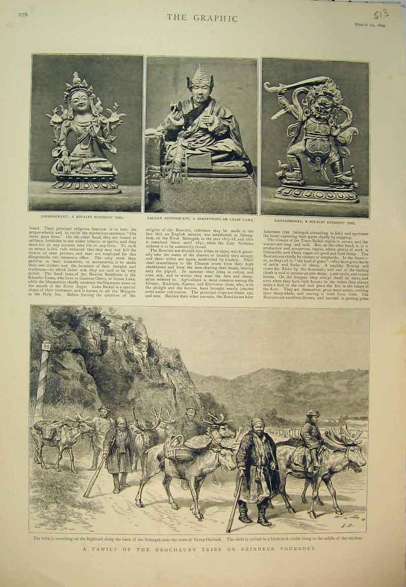 Print 1894 Buddhist Chief Lama Orochauny Tribe Reindeer 513B394 Old Original