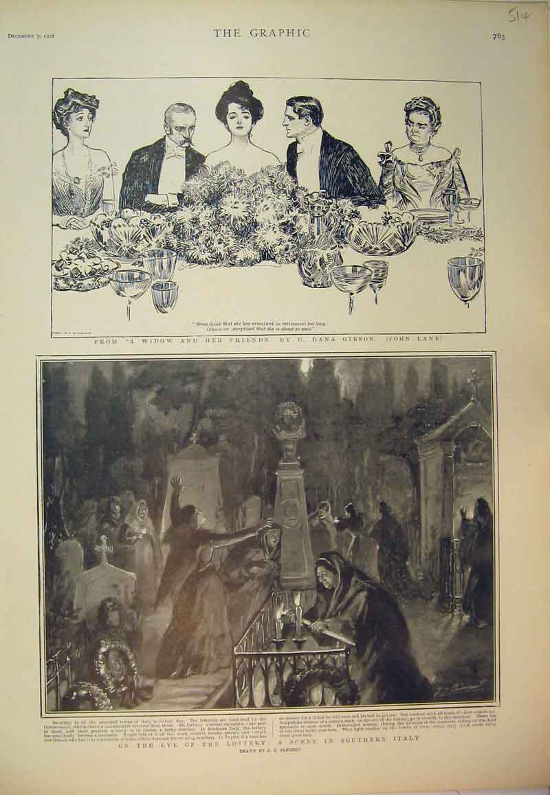 Print 1901 Dinner Party Graveyard Scene Southern Italy 514B394 Old Original