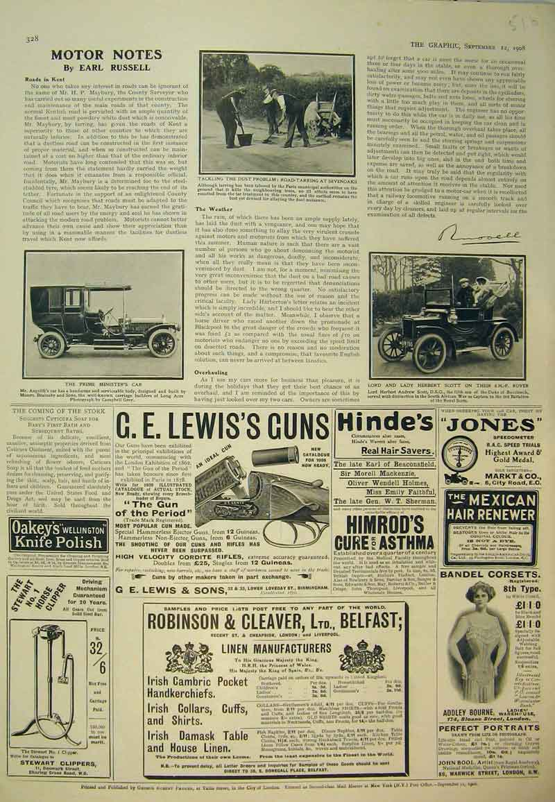 Print 1908 Advert Rover Car Prime Minister Lewis Guns Corsets 516B394 Old Original