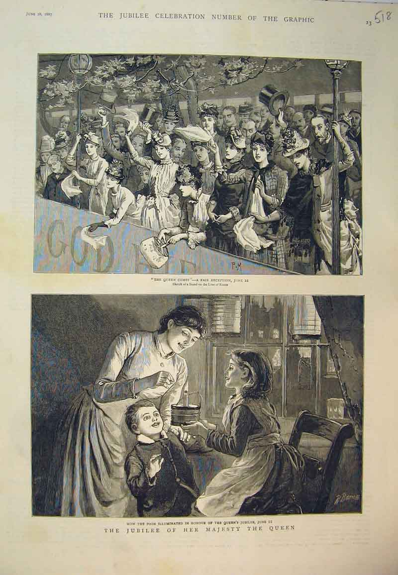 Print 1887 Jubille Majesty Queen Reception Poor Candle People 518B394 Old Original
