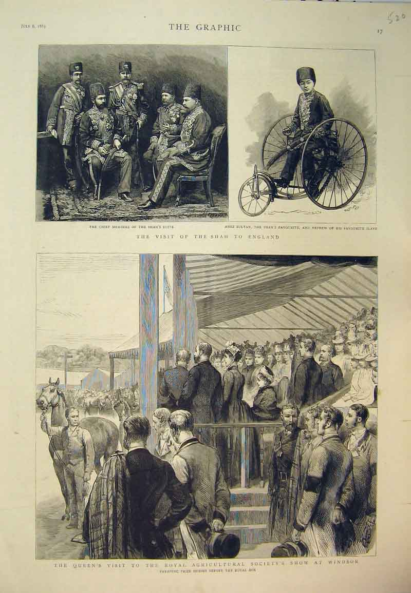 [Print 1889 Visit Shah England Queen Agricultural Show Windsor 520B394 Old Original]