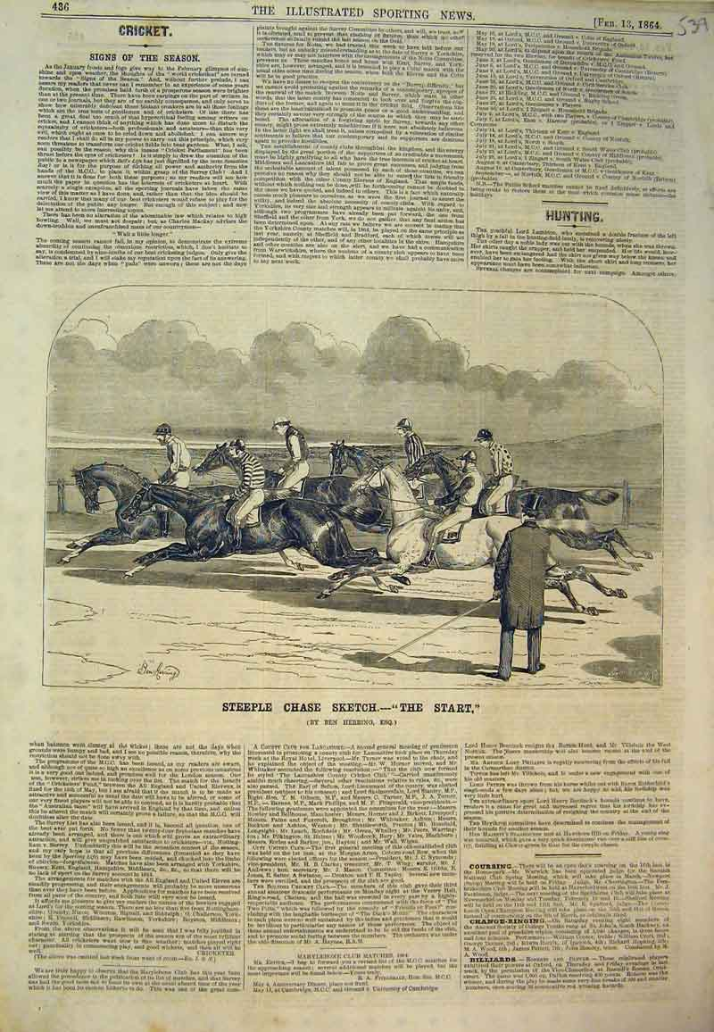 Print 1864 Steeple Chase Sketch Horse Racing Sport Herring 539B394 Old Original