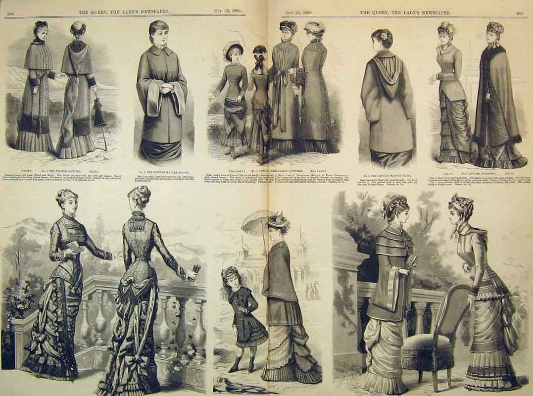 Print 1880 Demi-Saison Costumes Capucin Mantle Women Fashion 203B395 Old Original