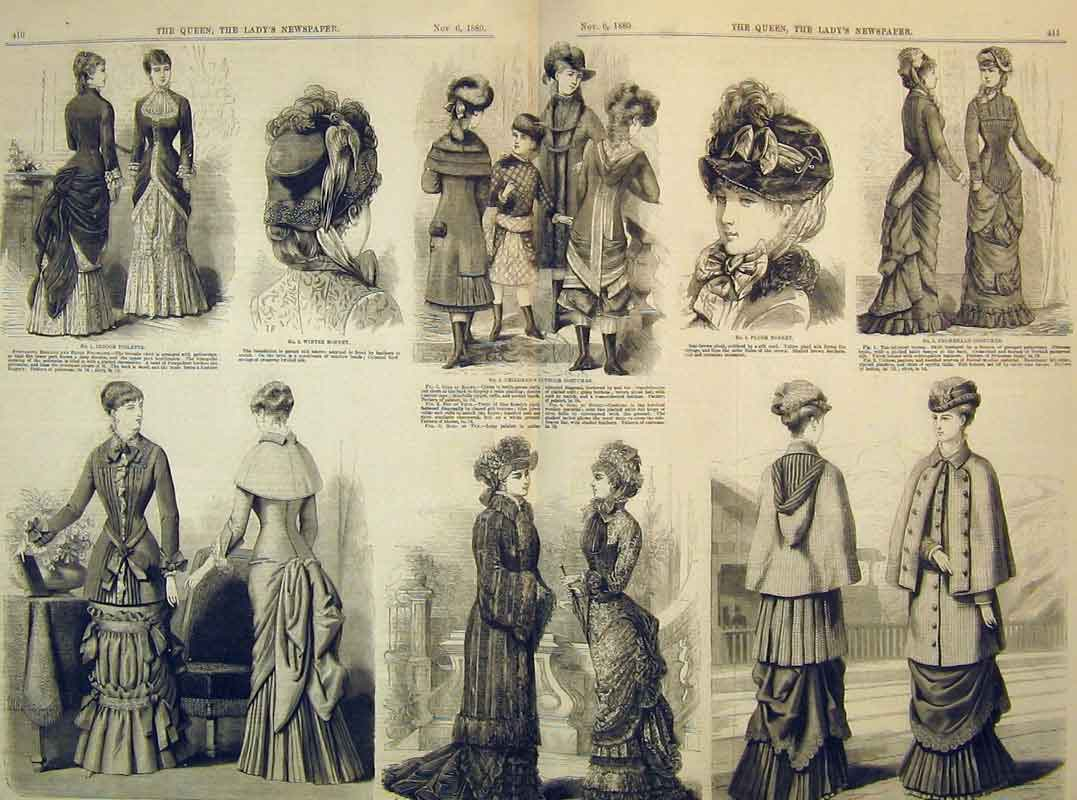 Print 1880 Womens Fashion Dresses Bonnet Toilette Costumes 204B395 Old Original