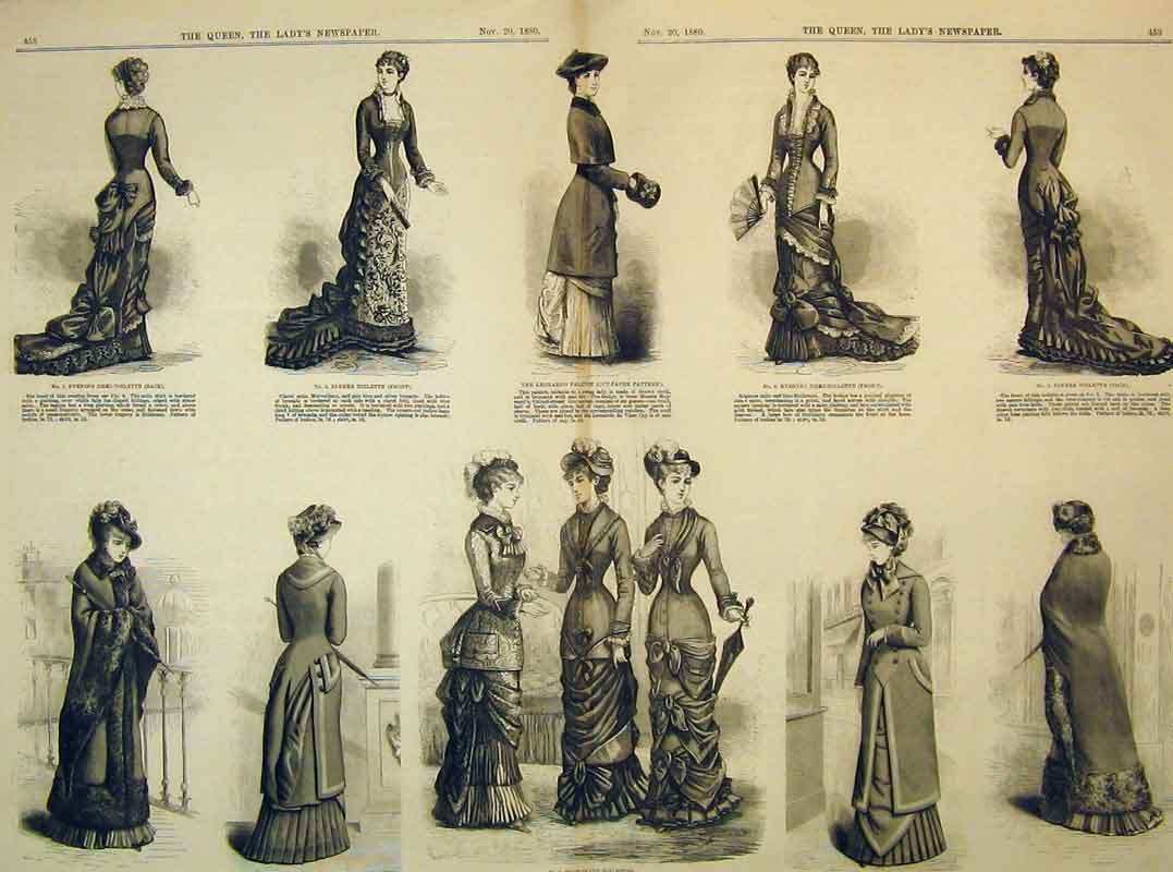 Print 1880 Womens Fashion Dresses Toilette Pelisse Costume 205B395 Old Original