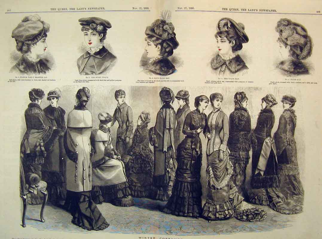 Print 1880 Winter Costumes Fashion Beret Bonnet Tam Shanter 207B395 Old Original