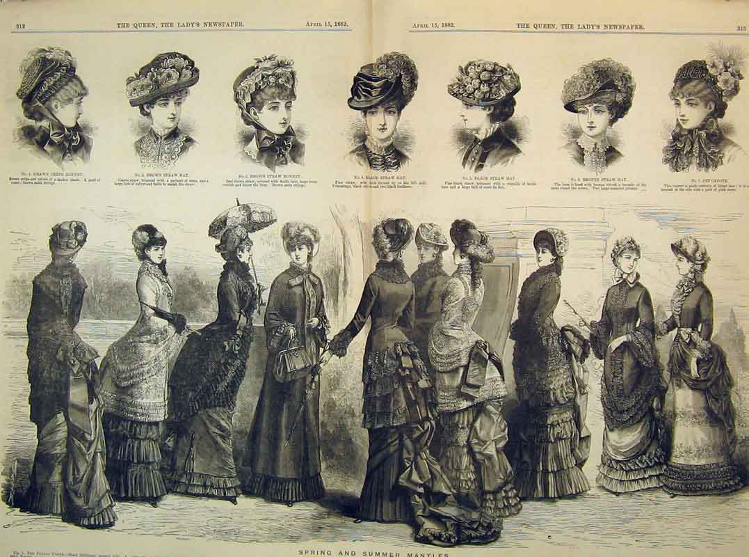 Print Women Fashion 1882 Straw Hat Mantles Crepe Bonnet Jet 208B395 Old Original