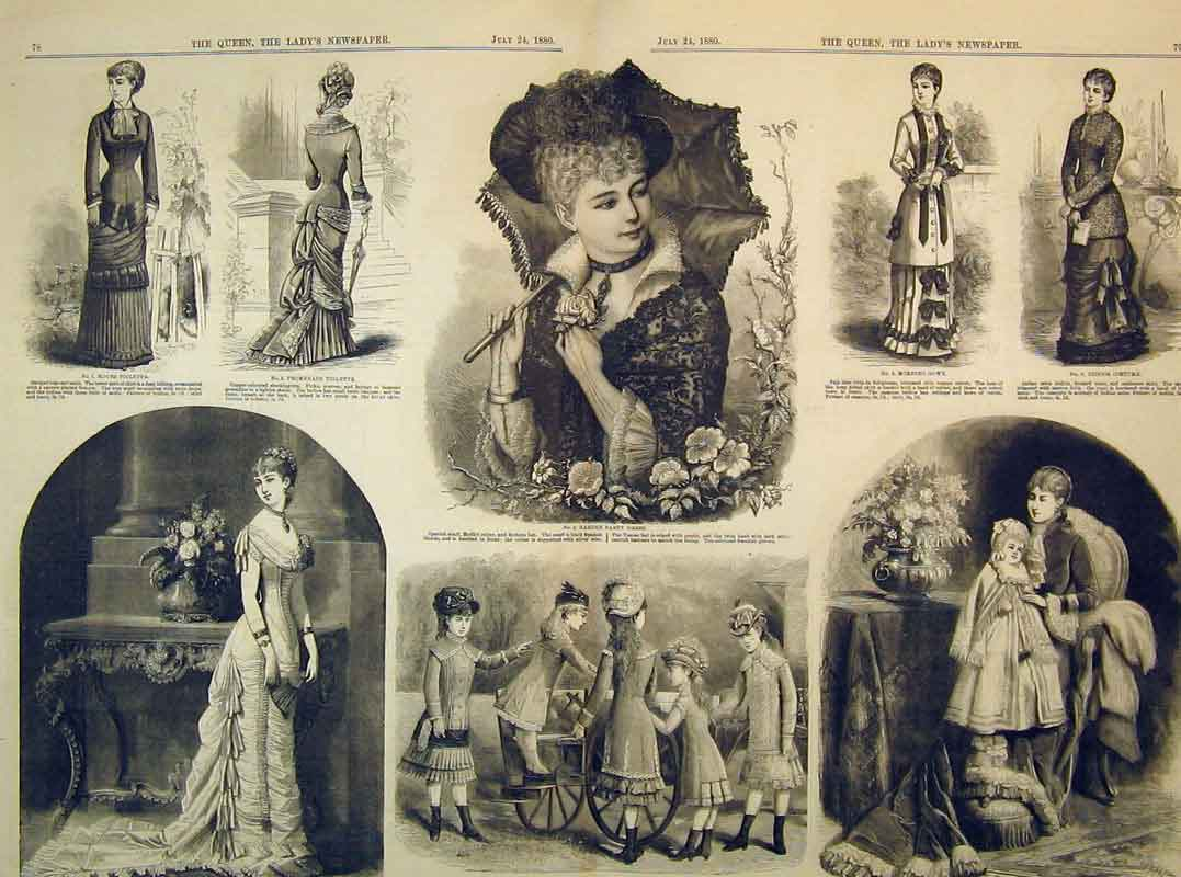 Print 1880 Fashion Dresses Garden Party Girls Seaside Costume 215B395 Old Original