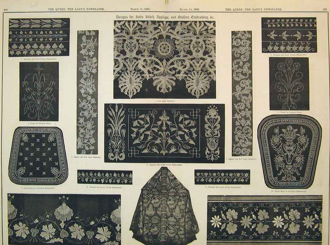 Print 1882 Designs Embroidery Lace Dalmatia Applique Satin 216B395 Old Original