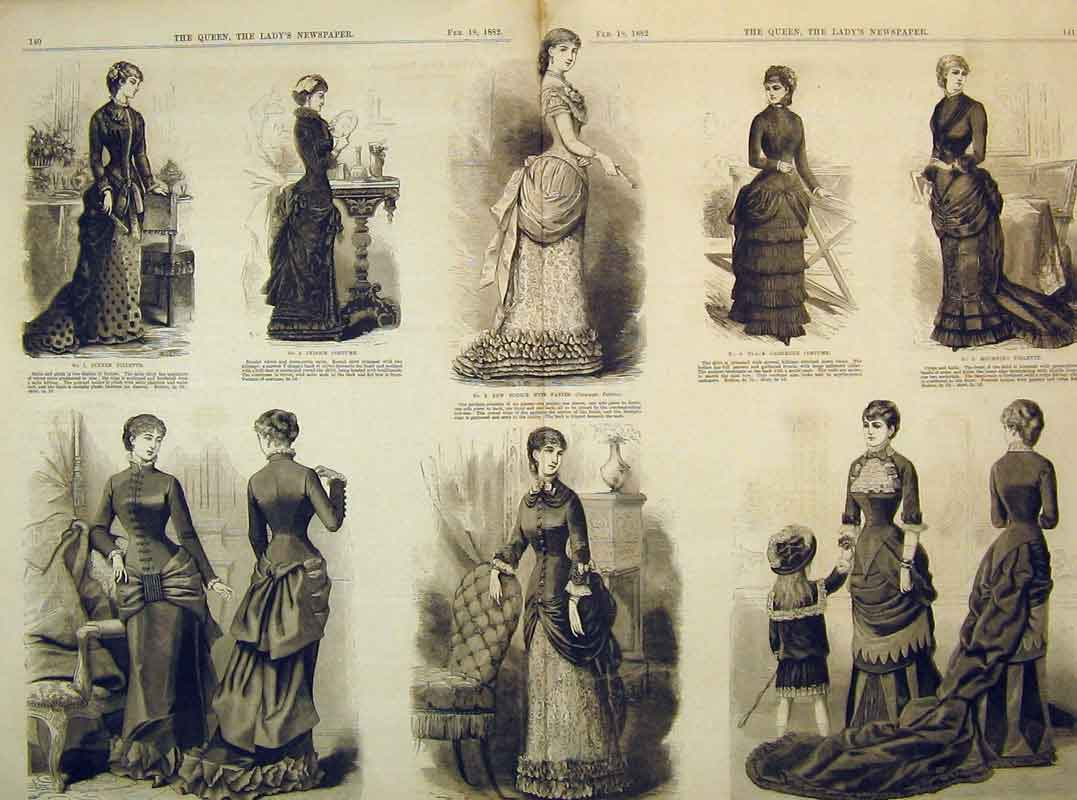 Print Womens Fashion Dresses 1882 Costume Toilette Bodice 219B395 Old Original