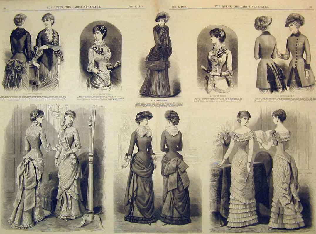 Print 1882 Womens Fashion Dresses Bodice Ball Costume Theatre 220B395 Old Original