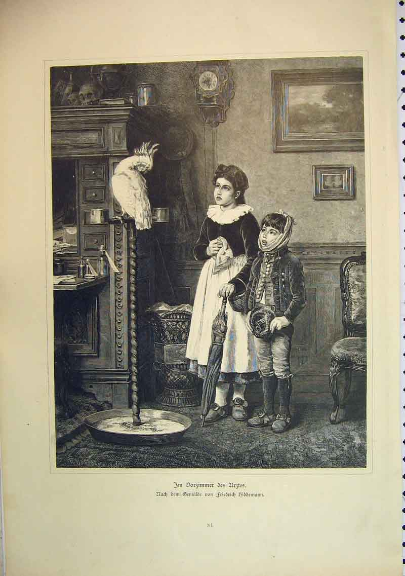 Print French Children Interior Home Parrot Stand Bird 411B396 Old Original