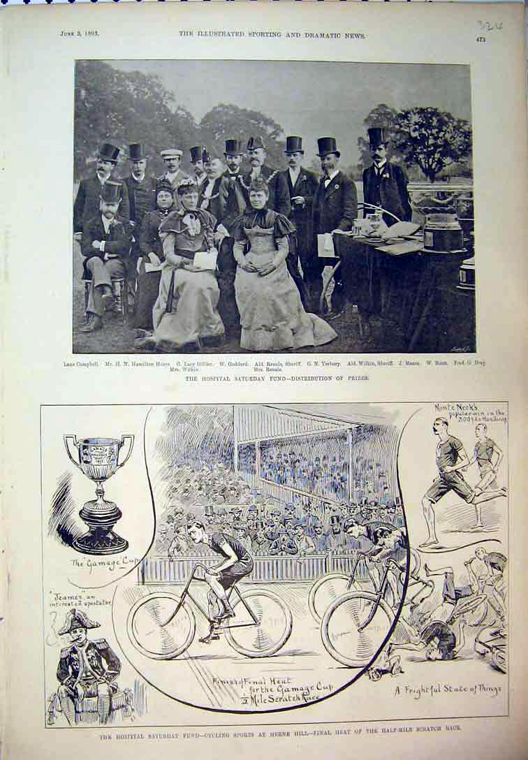 Print 1893 Sport Cycling Herne Hill Race Dray Goddard Hoare 324B397 Old Original