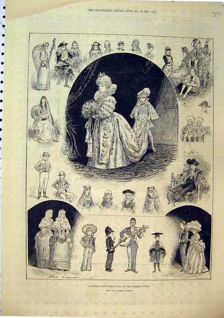Print 1887 Juvenile Fancy Dress Ball Mansion House Costumes 331B397 Old Original