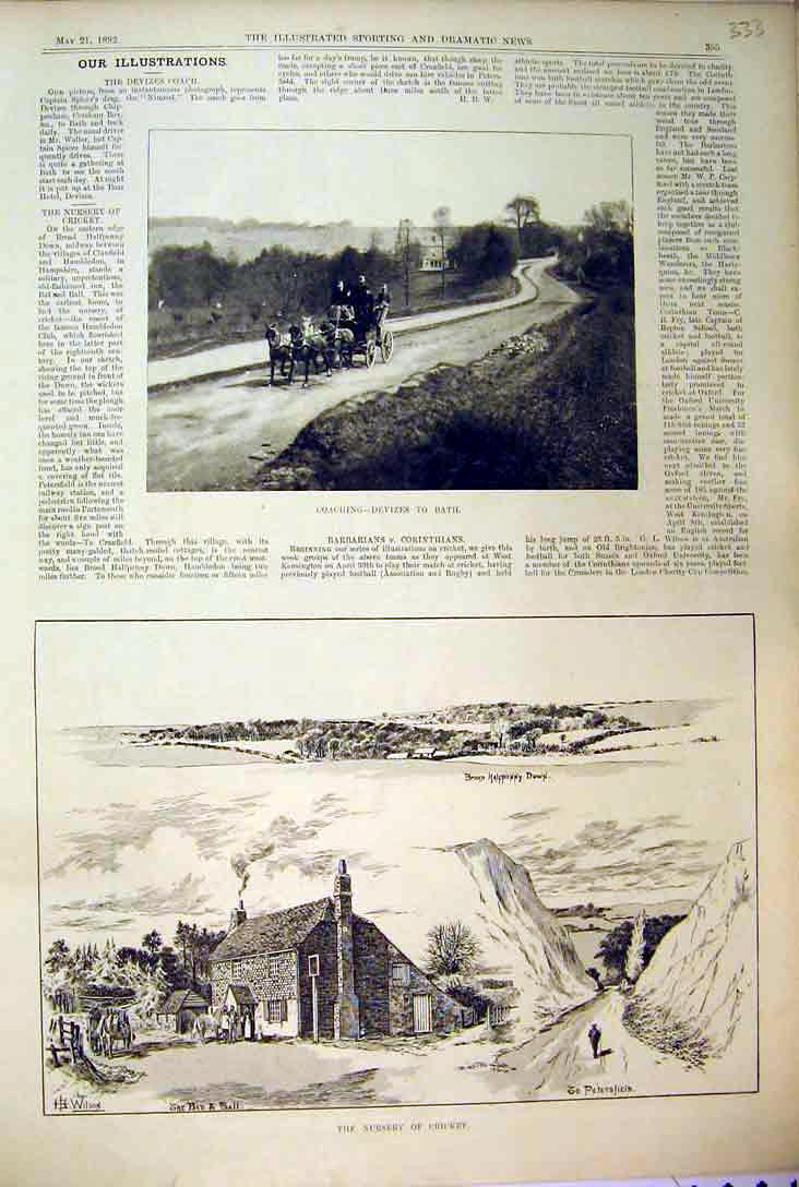 Print 1892 View Broad Halfpenny Down Horse Coach House Road 333B397 Old Original
