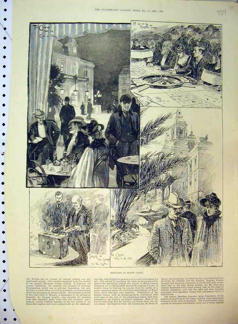 Print 1891 Monte Carlo France Casino Roulette Tables Paris 339B397 Old Original