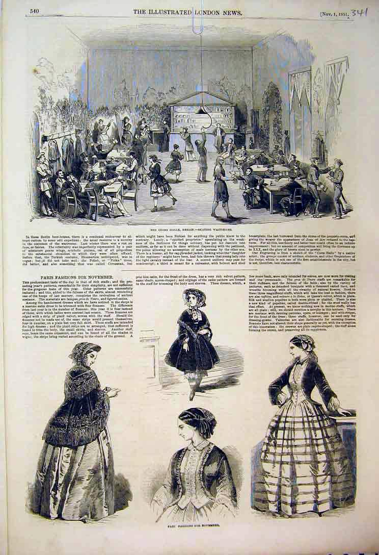 [Print 1851 Paris Fashions Women Dresses Corso Halle Berlin 341B397 Old Original]