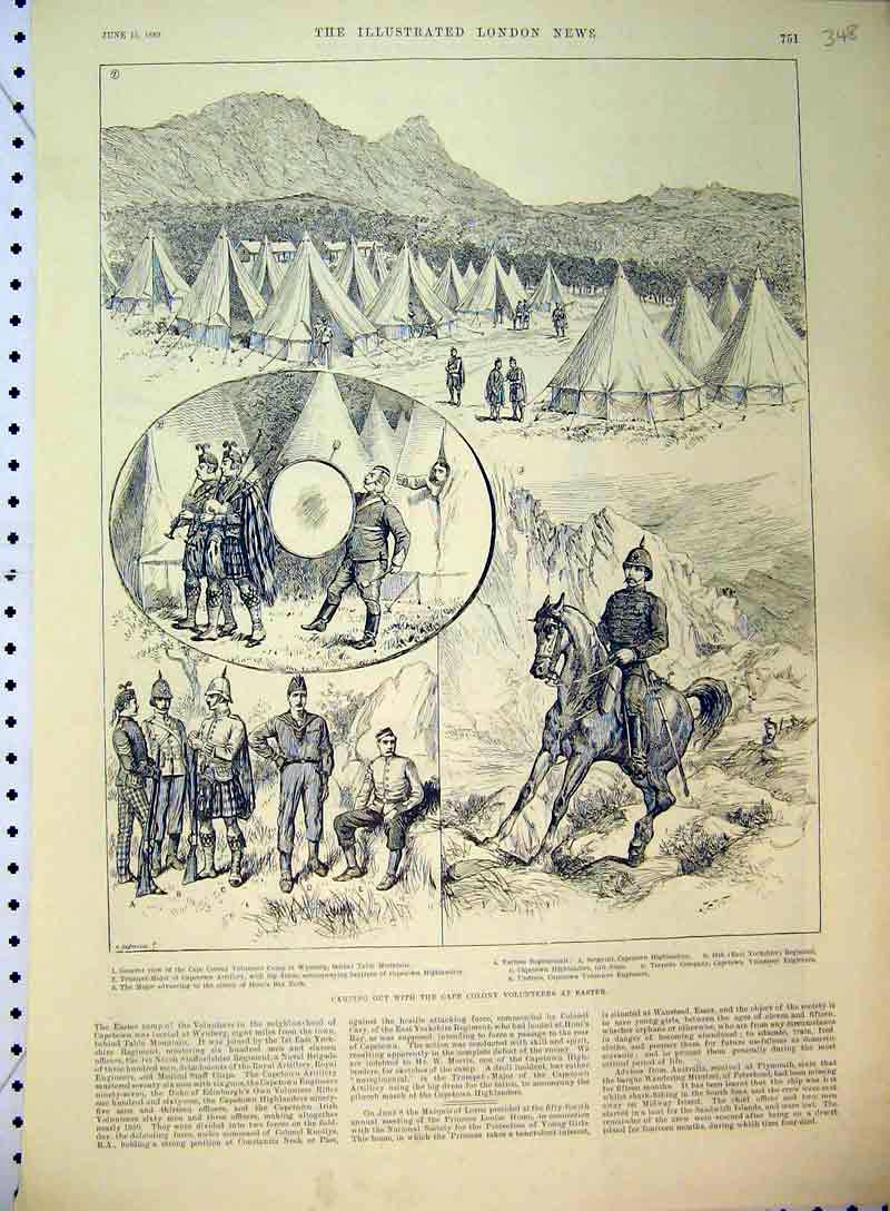 Print 1889 Camping Cape Colony Volunteers Soldiers Tent Horse 348B397 Old Original