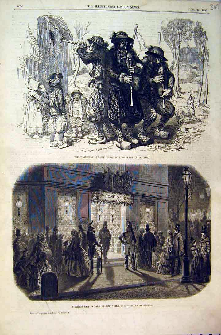 Print 1853 Bonbon Shop Paris Men Sonneurs Music Dog Children 349B397 Old Original