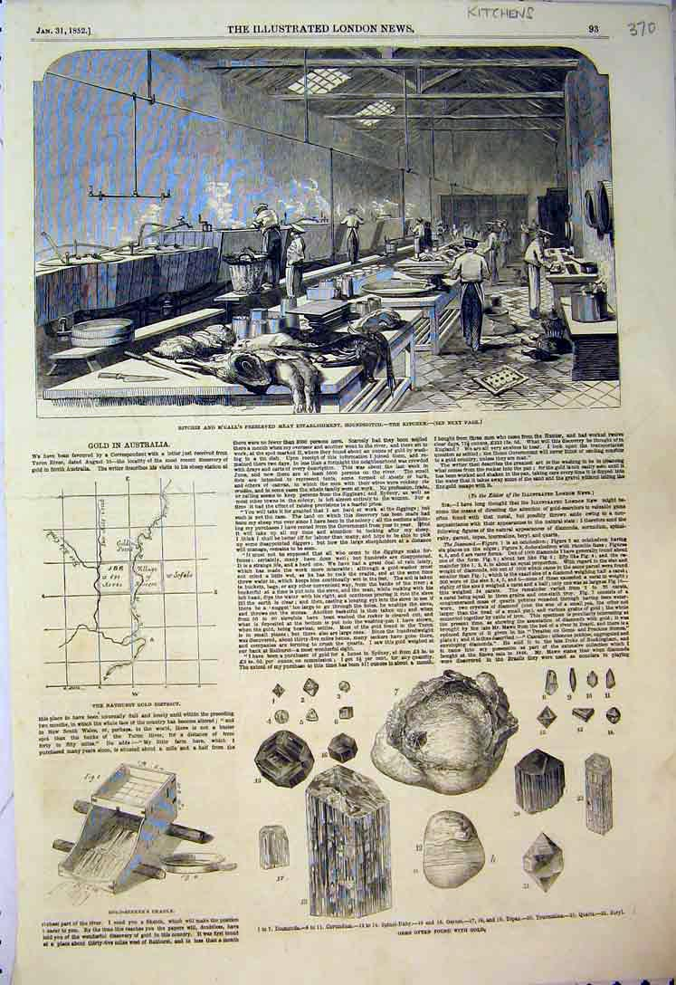 Print 1852 Ritchie Meat Kitchen Houndsditch GMining 370B397 Old Original