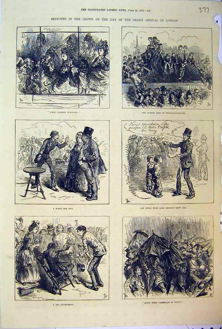 Print 1873 Shah London Sketches People Umbrellas Lord Mayor 377B397 Old Original