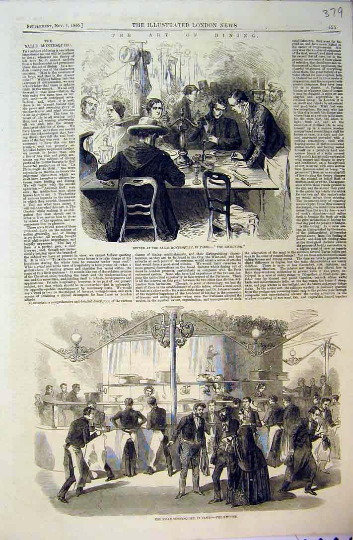 Print 1856 Dinner Salle Montesquieu Paris Kitchen Food Table 379B397 Old Original