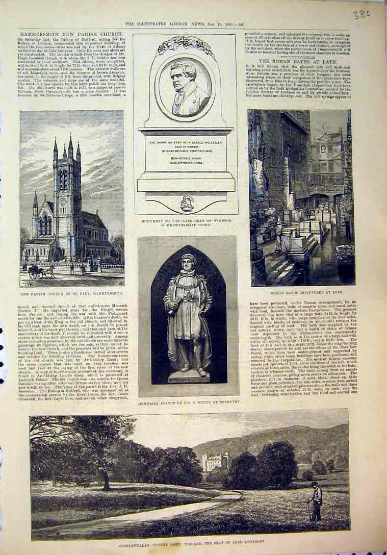 Print 1883 Church Hammersmith Roman Baths Statue Ireland 380B397 Old Original