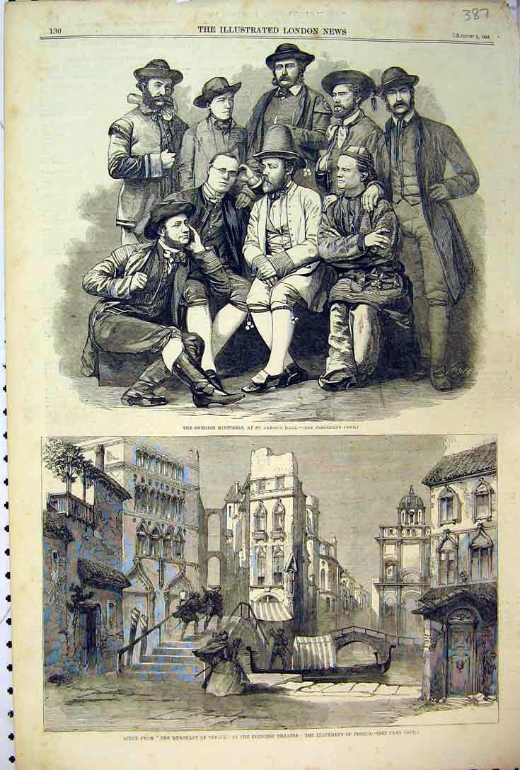 Print 1858 Swedish Minstrels James Merchant Venice Theatre 387B397 Old Original