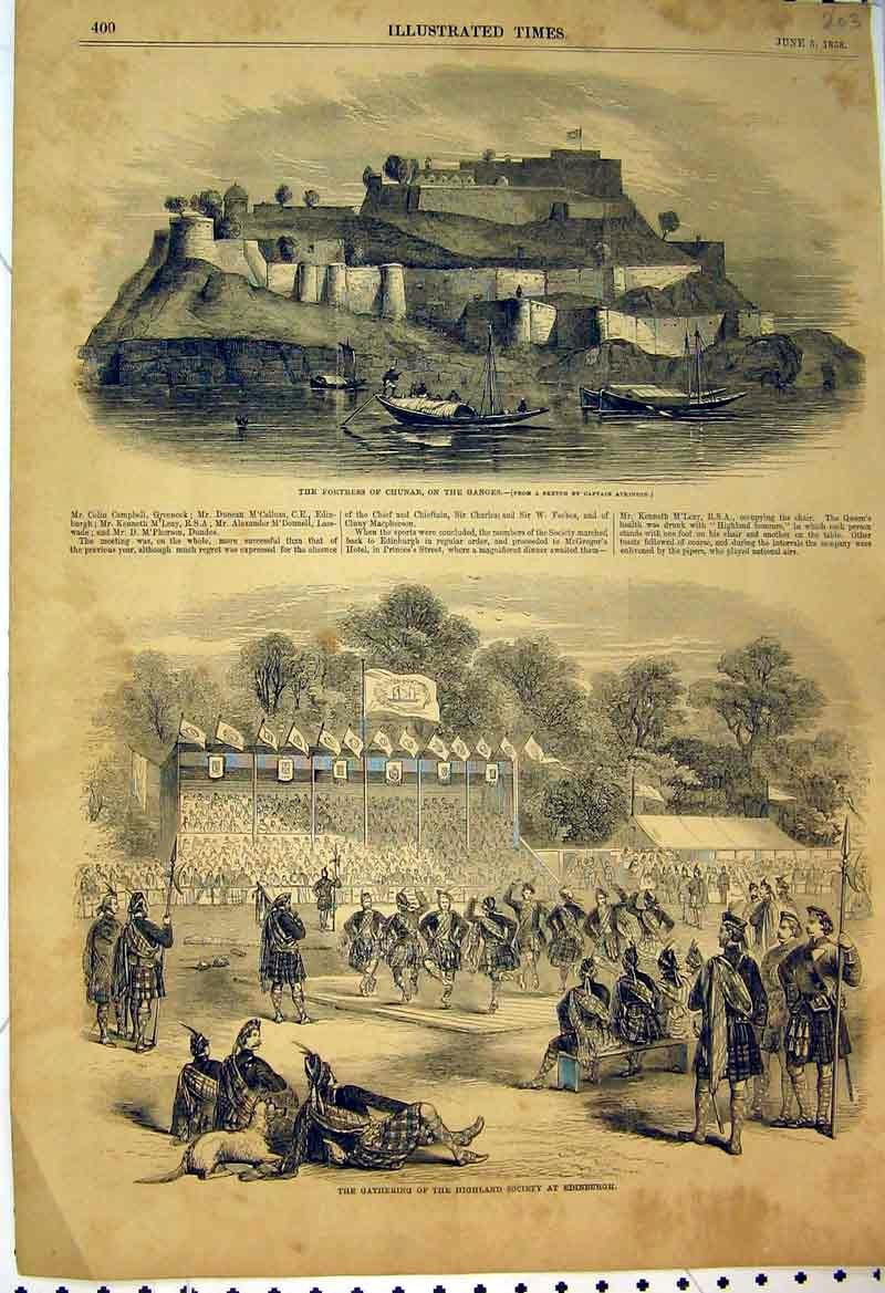Print 1858 Fortress Chunar Ganges Highland Dancers Edinburgh 203B398 Old Original