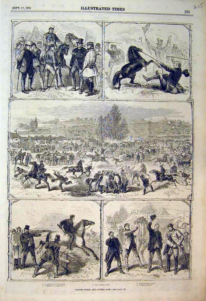 Print 1864 Barnet Horse Cattle Fair Refractory Pony Sale 215B398 Old Original