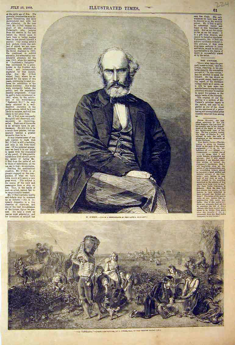 Print 1859 Portrait Mr O'Neil Country Scene Grape Wine Field 224B398 Old Original
