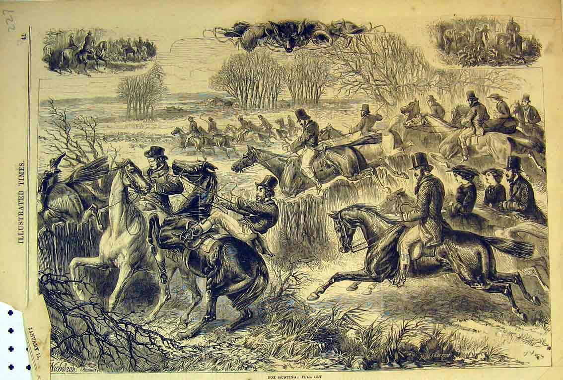 Print 1859 Fox Hunting Sport Dog Hounds Men Jumping Fence 227B398 Old Original