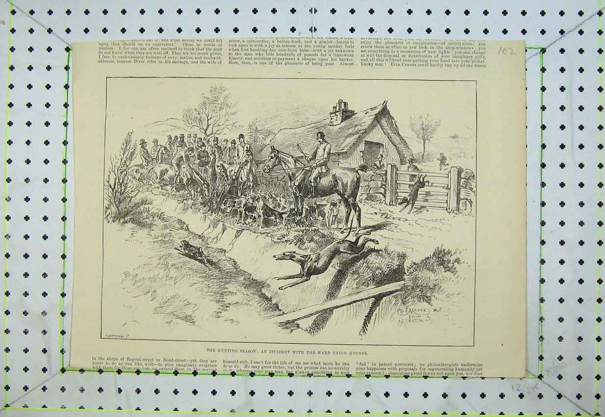 [Print Hunting Horses Ward Union Hounds Dogs Hare Jumping 102B399 Old Original]