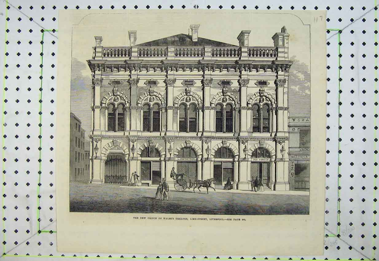Print Prince Wales Theatre Lime Street Liverpool Building 117B399 Old Original