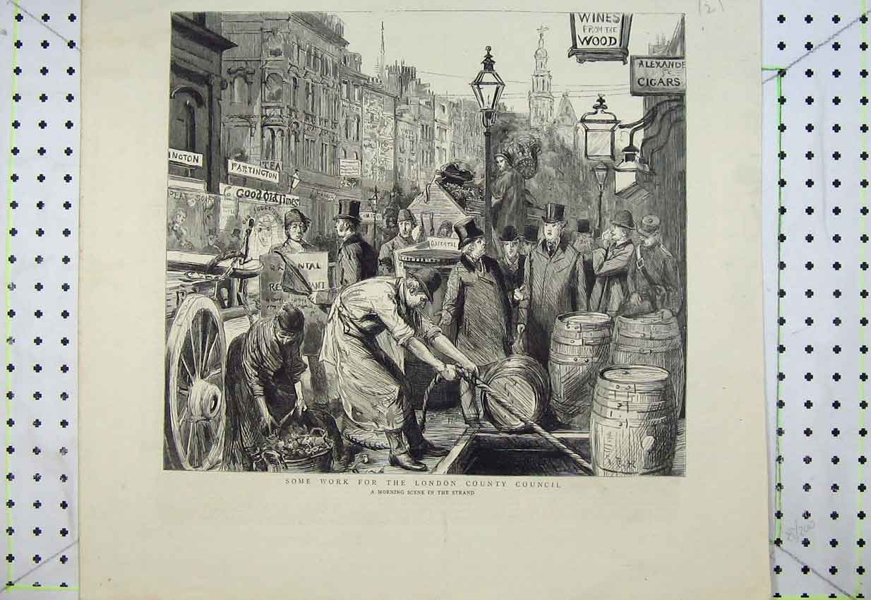 Print Street Scene Strand London Men Barrels Basket Buildings 121B399 Old Original